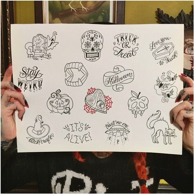 A very special treat for Halloween! Tomorrow I will be doing $100 walk-in tattoos at @GritNGlory off of my custom, Halloween tattoo flash sheet from 12pm-8pm. The tattoos will be black plus one color of choice, and the images cannot be altered. It will be first come, first serve, so come early if you want to reserve a spot!