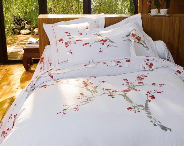linge de lit cerisiers japonais   becquet