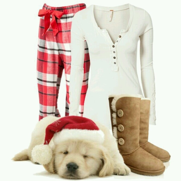 Sooooo precious! Christmas morning outfit! AND there's a puppy! Can I have that too?:)
