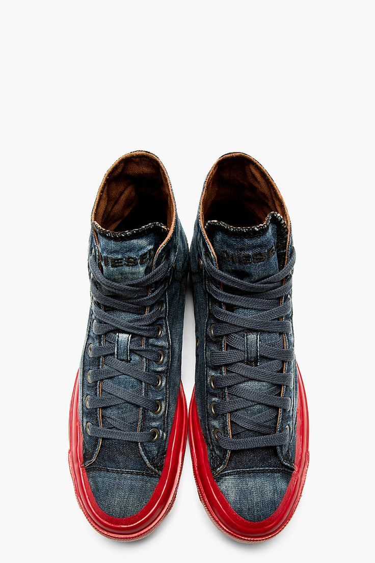 DIESEL Blue Denim Contrast Sole Exposure High-Top Sneakers ...