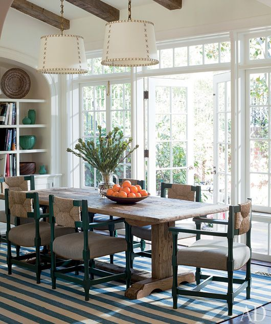 Love The Table In This Informal Dining Room Peter DunhamStriped RugStriped