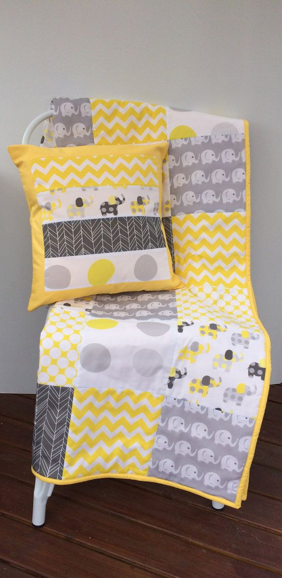 Yellow and Grey Elephant Baby Patchwork Cot / Crib Quilt by Danoah, $165.00