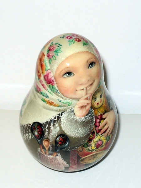 1 of kind painting art roly poly russian girl Aksinia & matryoshka nesting doll