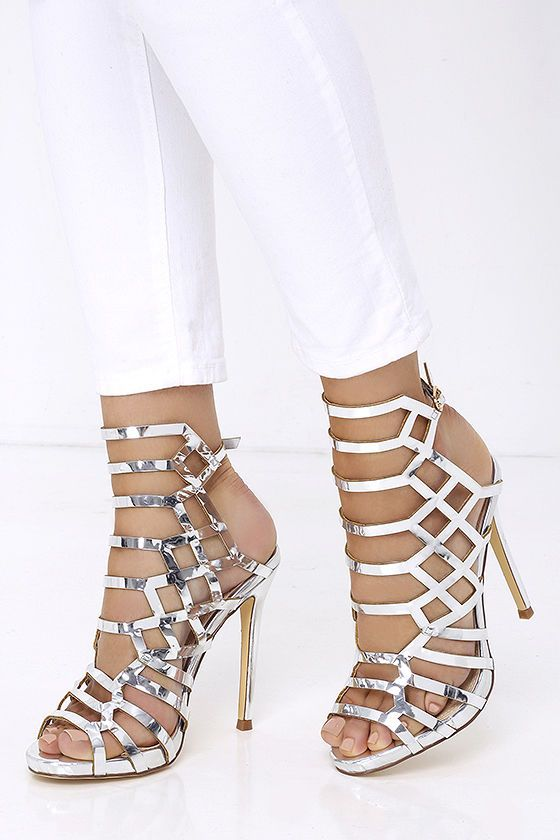 Impact the Outcome Silver Caged Heels | Products, Silver and The o ...
