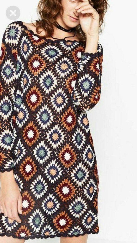 Women sleeve sweater dress. Granny square crochet top. Hippie Festival clothes. Patchwork