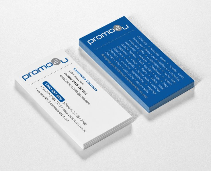 'Promo2u' a promotions company logo and business card - created by RIS Designs. www.risdesigns.com.au