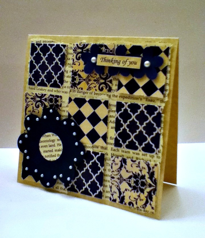 """vintage """"thinking of you"""" card... this would be good for some CTMH Silhouette scraps!"""