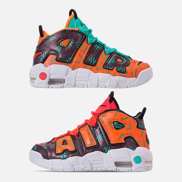 61cd577ea6e5 Right view of Boys  Grade School Nike Air More Uptempo Premium Basketball  Shoes in Total Orange Black Hyper Jade Bordeaux