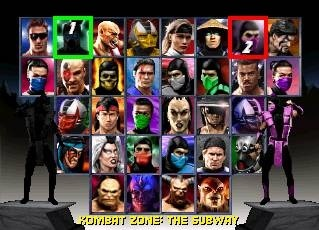 Mortal Kombat Trilogy (Fighter Select Screen)