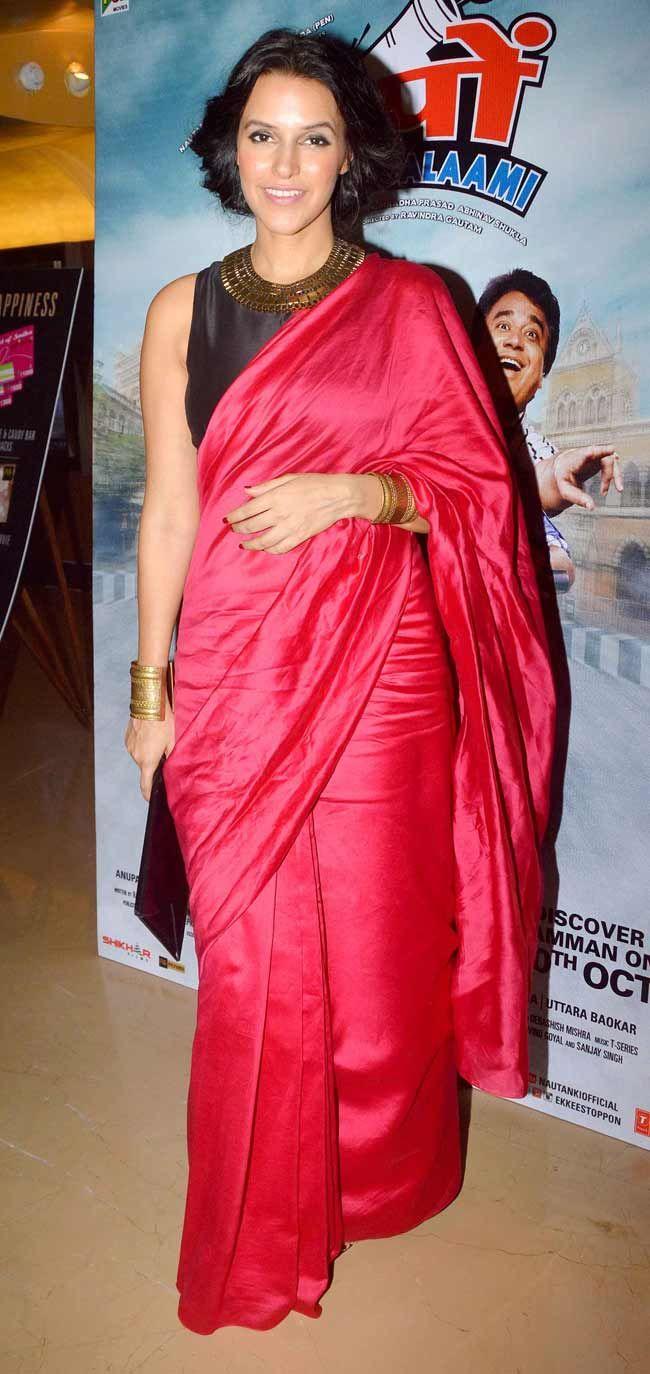 Neha Dhupia at the trailer launch of 'Ekkees Toppon Ki Salaami'.