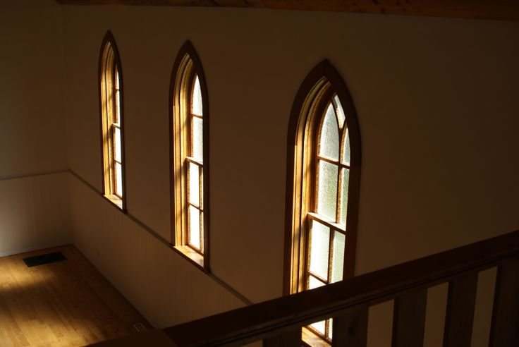 A view from the balcony of the original windows. Water Valley Church