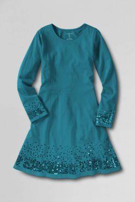 Girls' Long Sleeve Sparkle Dress from Lands' End