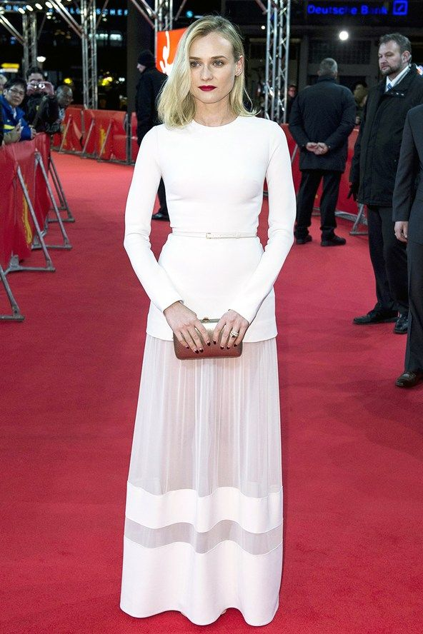 Diane Kruger.. Elie Saab white jersey gown with a sheer insert skirt..