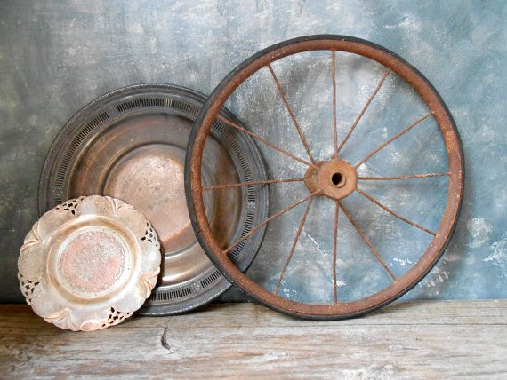 Antique Farmhouse Cart Wheel: Metal and Rubber Industrial Salvage by Untried on Etsy #homespunsociety #farmhouse #industrial