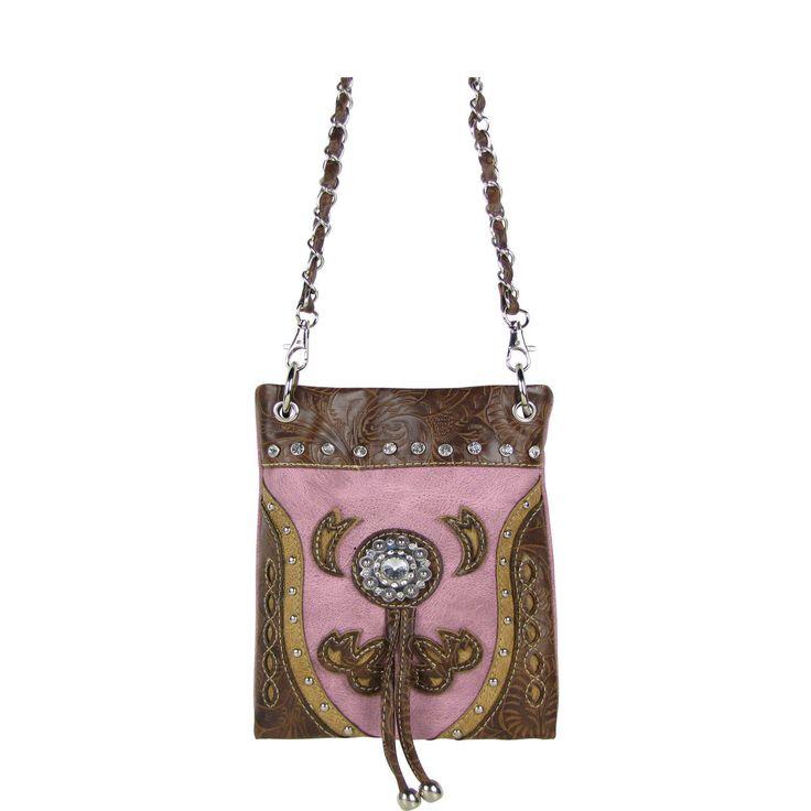 Pink Rhinestone Flower Mini Messenger Bag Western Bling Cross Body Satchel