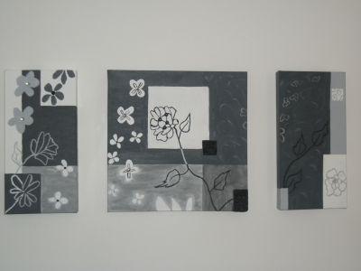 Triptyque noir gris et blanc florale vous aimez créer vos propres tableaux avec