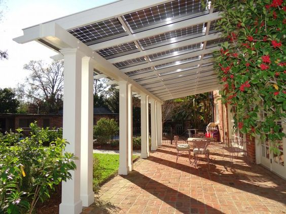 patio pergola with solar power roof
