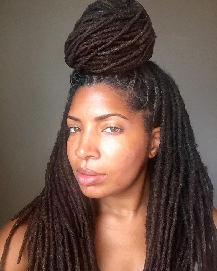 See this Instagram photo by @loccrush • top knot. High bun. Lock bun. Women's hair. Long locks ...
