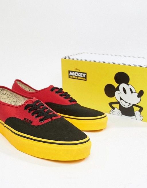 06187b2fc2be6e Vans x Mickey Mouse Authentic plimsolls in red VN0A38EMUK91 in 2019 ...