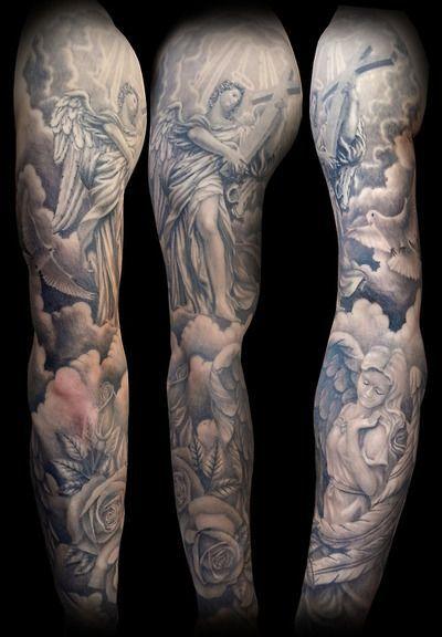 sleeve tattoo angels tattoo tattoo sleeves sleeve tattoos cloud tattoo ...