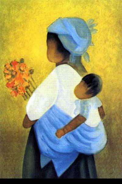 Oeuvre du peintre Toffoli - Maternité au bouquet