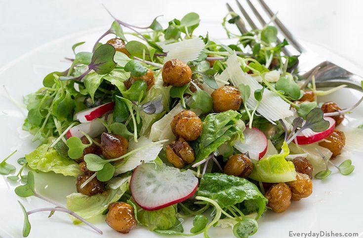 Microgreens Salad with Roasted Chickpeas Recipe   – Everyday | Soups & Salads – …   – Roasted