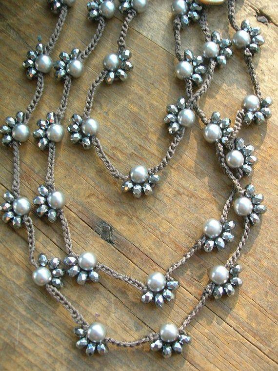 Long beaded crochet necklace Starlet silver by 3DivasStudio                                                                                                                                                     More