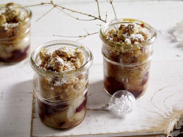 Unser beliebtes Rezept für Birnen-Mandel-Crumble im Weckglas und mehr als 55.000 weitere kostenlose Rezepte auf LECKER.de.