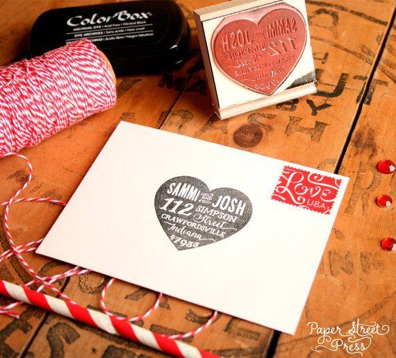 Heart Return Address Stamp  Wedding RSVP Stamp by PaperStreetPress