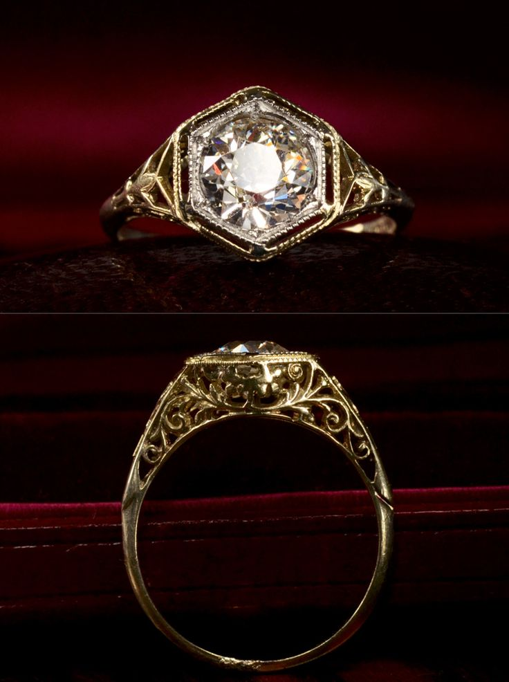 0.94ct Old European Cut Diamond (H/VS2) Engagement Ring, 14K Yellow Gold Filigree, Platinum Top for Stark