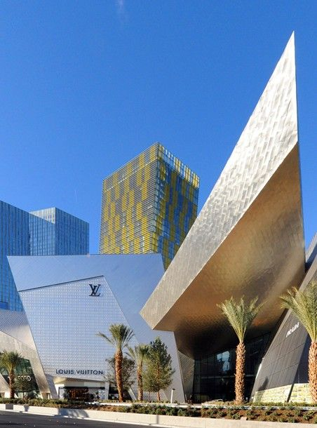 Louis Vuitton, Crystals City Center Mall, Las Vegas. Luxury mall designed by Daniel Libeskind and the Rockwell Group.