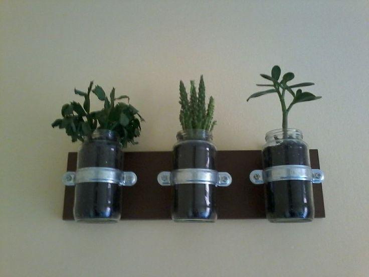 Ambiente natural en tu casa! MATERIAL UTILIZADO: -Botes de cocina -Abrazaderas metálicas (podéis encontrarlas en la ferretería) -Plantas y arena