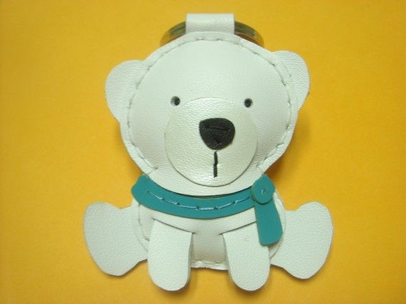 Julian the Polar Bear Leather Keychain  White / by leatherprince, $19.90