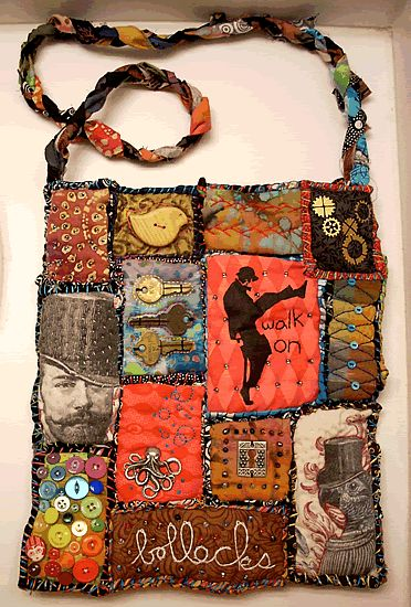 mixed media bag (inspired by Teesha Moore) by Emma Houle aka sheepBlue http://www.craftster.org/forum/index.php?PHPSESSID=9a28aer7r2frii6rcr0mnvqsb5=profile;u=148681 http://quirkiecraft.blogspot.com/ #crafts #mixed_media #bags