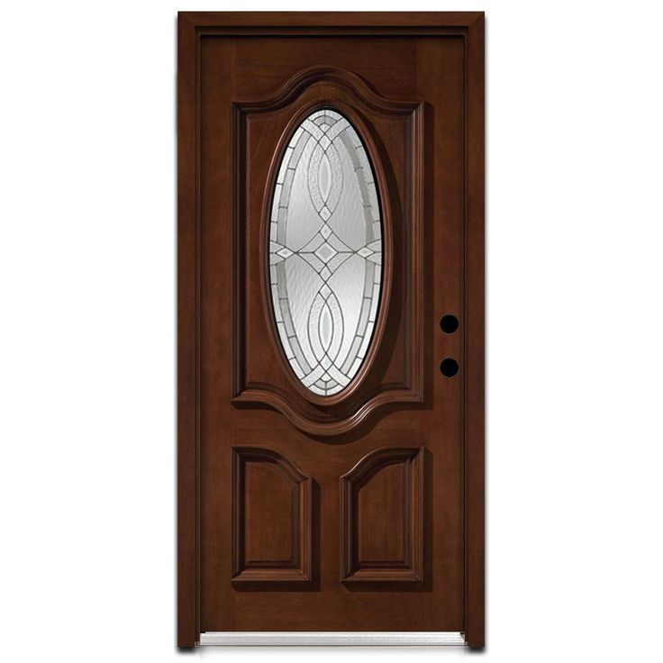 Steves & Sons Annapolis 3/4 Oval Stained Mahogany Wood Entry Door-AP6151MMJLI at The Home Depot
