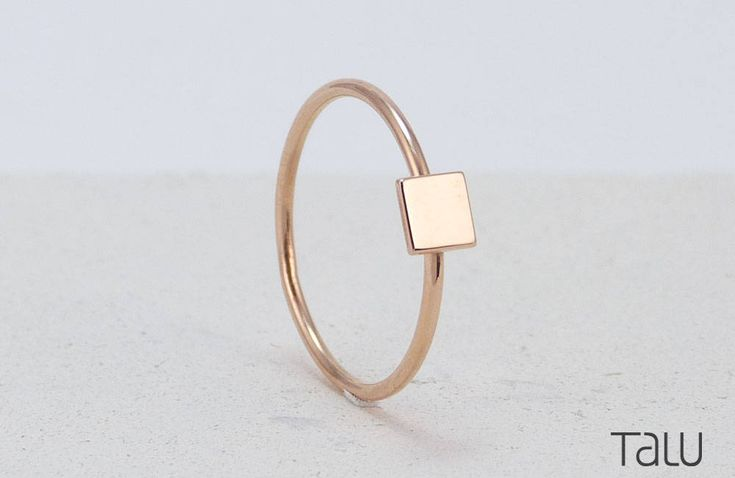 Square Gold Ring, Simple Square Ring,Gift For Girlfriend, Everyday Jewelry, Rose Gold Jewelry, Geometrical Design, 14k Solid Gold, Girl Gift by TALUrockngold on Etsy