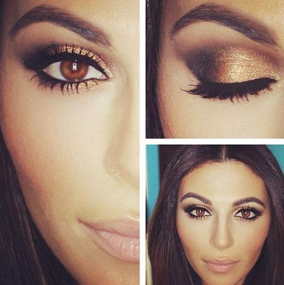 Brown Eyes Pop With This Look In 2020 Wedding Eye Makeup Wedding Makeup For Brown Eyes Dark Skin Makeup