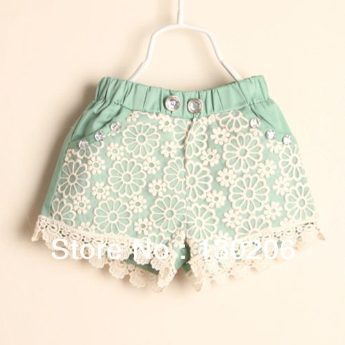 Children shorts girls pants,kids casual lace shorts,baby's summer cloth,children beach shorts,child green pants US $9.68