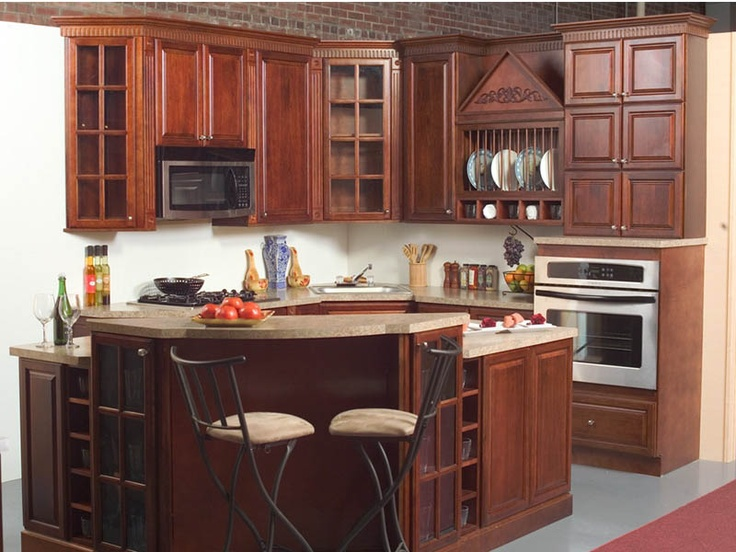Elegant Pecan Wood Kitchen Cabinets