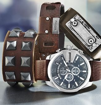 """Warm leather details on men's watches and wrist bands add a touch  of class and an """"oh so cool"""" luxury to any winter outfit"""