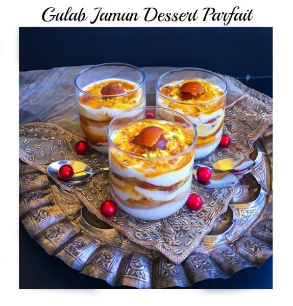 Gulab Jamun Dessert Parfait - Royal Diwali Treat : A luscious yet healthy Diwali dessert recipe made using gulab jamun, yogurt, cream and lots of love.