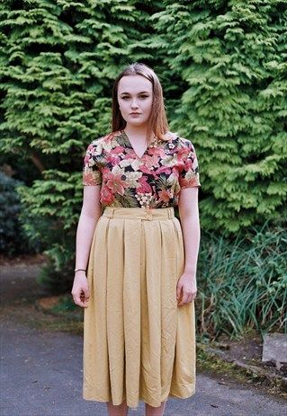 MUSTARD YELLOW MIDI SKIRT