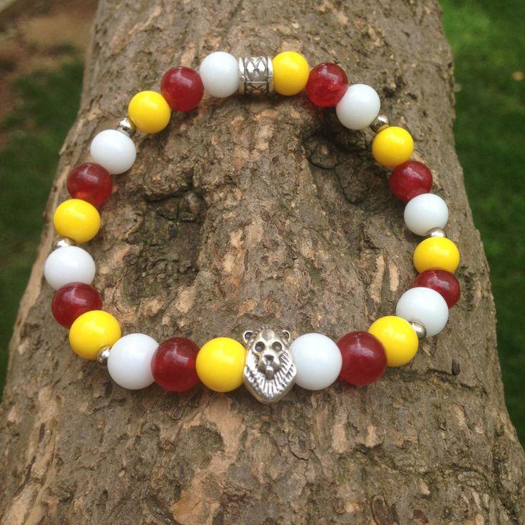 Üç renk Doğal taş Aslan figürlü sarı kırmızı bileklik. 24,99TL
