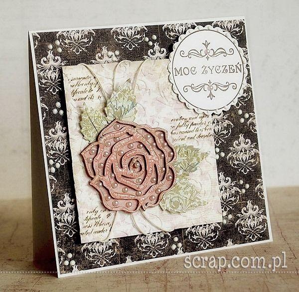 ażurowa róża pokryta preparatem crackle accents  http://www.hurt.scrap.com.pl/roze-z-tekturki-5szt-11-5x11-5.html
