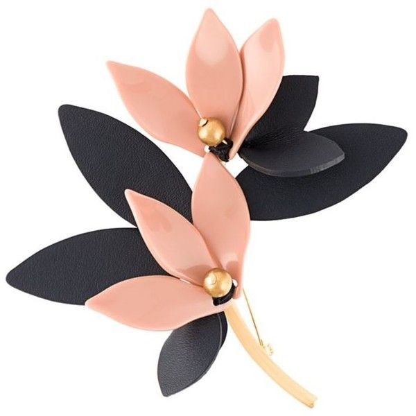 Marni floral brooch ($270) ❤ liked on Polyvore featuring jewelry, brooches, black, marni, pin jewelry, leather jewelry, marni jewelry and two tone jewelry