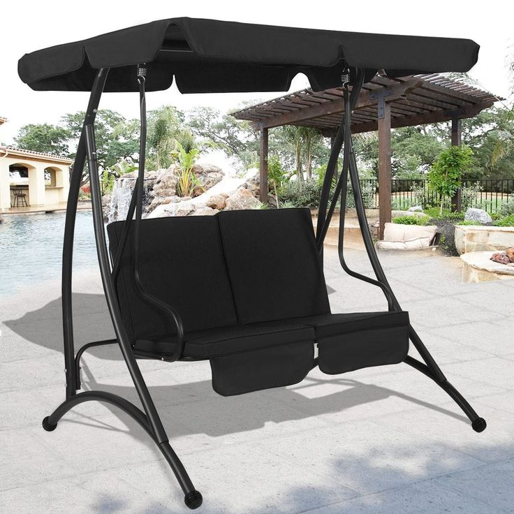 Costway Black 2 Person Canopy Swing Chair Patio Hammock Seat Cushioned Furniture Steel (Polyester), Patio Furniture