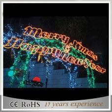 large merry christmas lighted signs outdoors