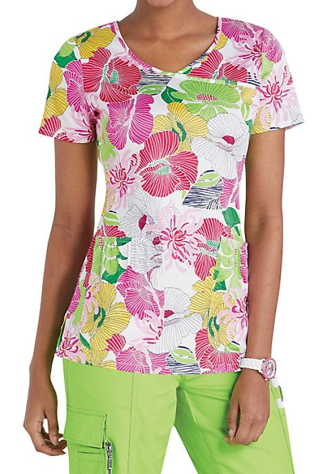 Feel like you're in a floral utopia when you wear the Beyond Scrubs Tropical Paradise scrub top!