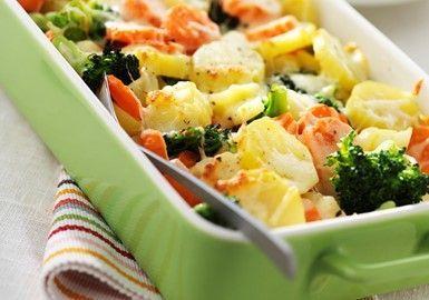 Broccoli- och morotsgratäng med kotlett 10 sp / portion