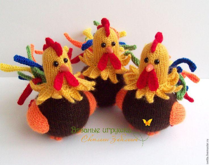 """Купить """"Петушки"""" вязаные игрушки - вязаная игрушка, петушок, петух, птица, Пасха, подарок на Пасху"""